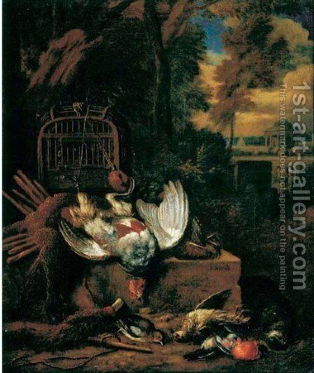 A hunting still life with a pheasant and songbirds in a landscape by Bernaert De Bridt - Reproduction Oil Painting