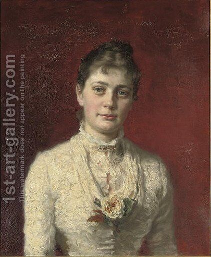 Portrait of Mrs H. Wichfeld (1849-1907) by Carl Christian Ferdinand Wentorf - Reproduction Oil Painting