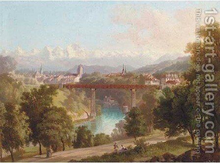 View of Berne towards the Alps by Carl Fuchs - Reproduction Oil Painting