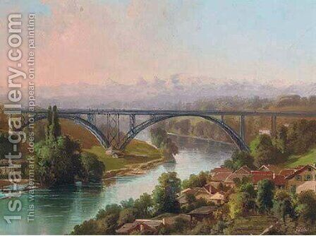 View of the railway bridge, Bern by Carl Fuchs - Reproduction Oil Painting