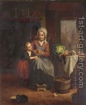 The knitting lesson by Catherine Seaton Forman Swift - Reproduction Oil Painting