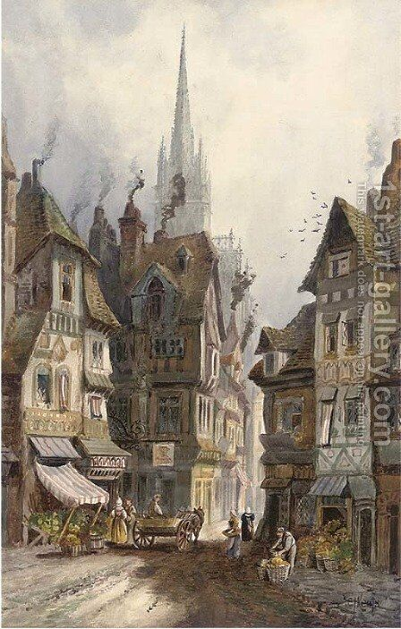 A northern French cathedral town by Charles James Keats - Reproduction Oil Painting