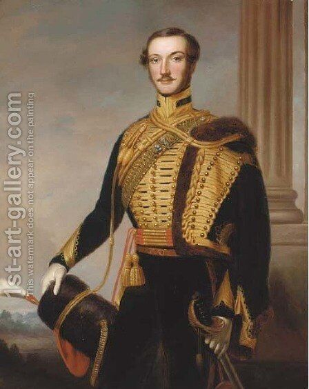 Portrait of Henry Edward Surtees of Redworth (1819-1895) by Charles Louis Bazin - Reproduction Oil Painting