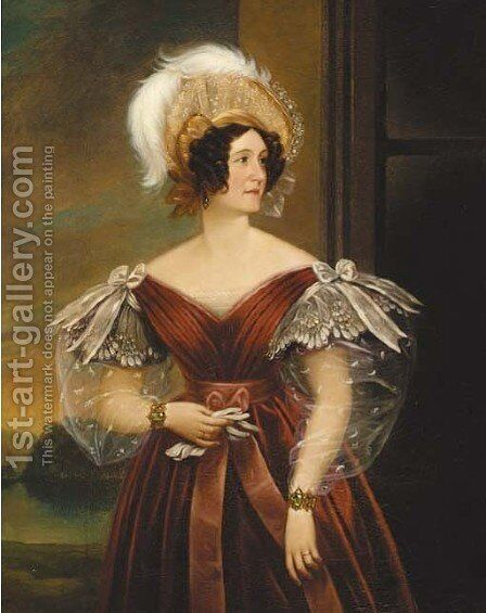 Portrait of Mrs Elizabeth Surtees of Redworth by Charles Louis Bazin - Reproduction Oil Painting