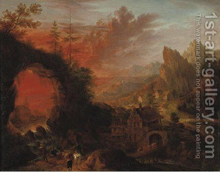 A mountainous river landscape with travellers near a waterfall, a watermill nearby by Christian Georg Schuttz II - Reproduction Oil Painting
