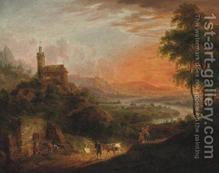 A mountainous river landscape with peasants near a well, a castle by Christian Georg Schuttz II - Reproduction Oil Painting