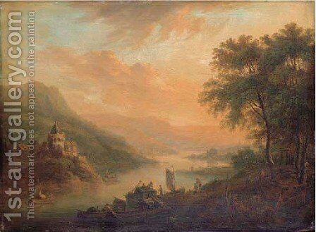 Dusk a Rhenish river landscape with castle on a hill by Christian Georg Schuttz II - Reproduction Oil Painting