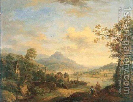 A Rhenish landscape with peasants talking by a track, figures on a bridge and a village beyond by Christian Georg Schuttz II - Reproduction Oil Painting