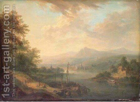 Dawn a Rhenish river landscape with a stevedore loading a boat by Christian Georg Schuttz II - Reproduction Oil Painting