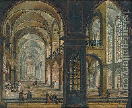 A church interior with figures praying and conversing by Christian Stocklin - Reproduction Oil Painting