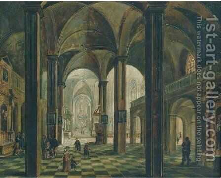 A church interior with figures praying at the altar of Saint Anthony by Christian Stocklin - Reproduction Oil Painting