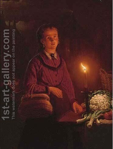 The buyer by Cirle Of Petrus Van Schendel - Reproduction Oil Painting
