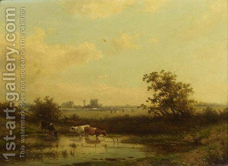 Watering cattle by Claas Hendrik Meiners - Reproduction Oil Painting
