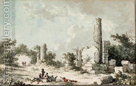 Ruins of the Temple of Castor and Pollux, Agrigenta by Claude-Louis Chtelet - Reproduction Oil Painting