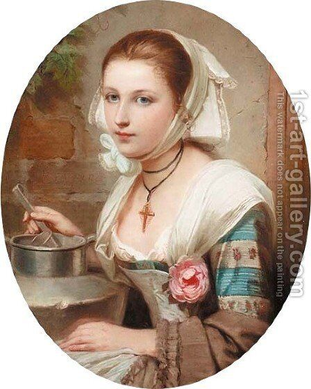 Portrait of a girl, with a pot by Constant Joseph Brochart - Reproduction Oil Painting