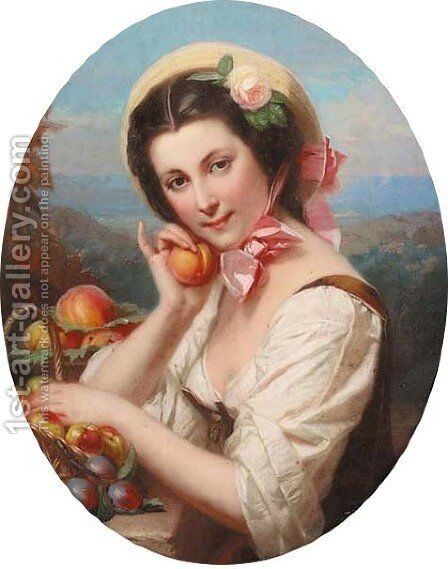 Portrait of a girl, carrying a peach by Constant Joseph Brochart - Reproduction Oil Painting