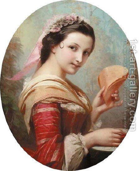 Portrait of a girl by Constant Joseph Brochart - Reproduction Oil Painting