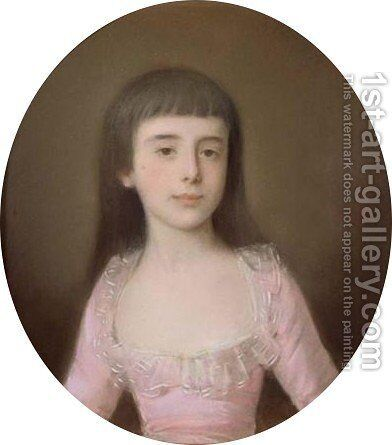 A Portrait Of A Young Girl, Bust Lenght, Wearing A Pink Dress by Continental School - Reproduction Oil Painting