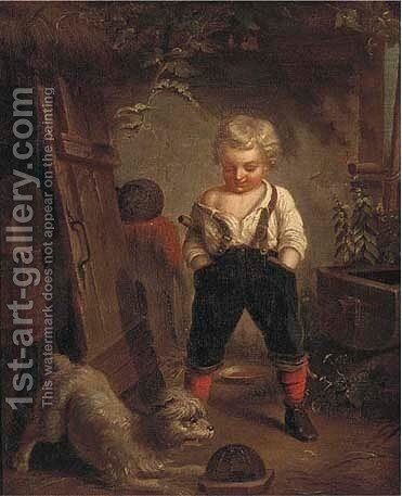 Playing with a dog by Continental School - Reproduction Oil Painting