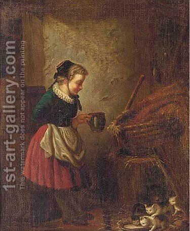 Feeding cats by Continental School - Reproduction Oil Painting