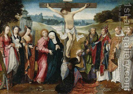 The Crucifixion with Saints Peter, Gregory, Lawrence and Francis of Assisi, the Madonna supported by Saint John the Evangelist, Saints Barbara, Cather by Cornelis Engelbrechtsz - Reproduction Oil Painting