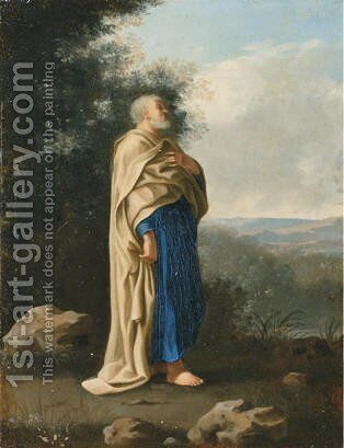 Saint Peter standing in an Italianate landscape by Cornelis Van Poelenburch - Reproduction Oil Painting