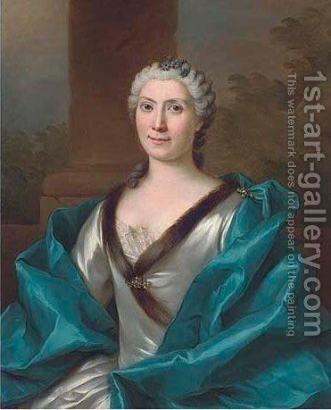 Portrait of a lady, half-length, in a mink trimmed white silk dress by Donat Nonnotte - Reproduction Oil Painting