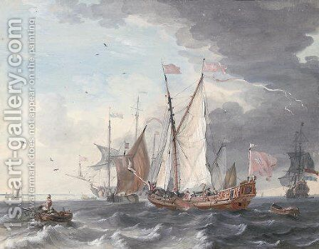 An English Admiralty or Royal Yacht announcing her arrival off Amsterdam by Dutch School - Reproduction Oil Painting
