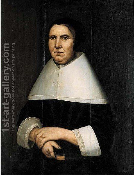 Portrait of a lady of the Van Gunning family by Dutch School - Reproduction Oil Painting
