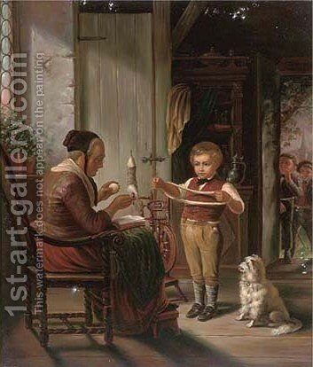 An unwilling spinner by Dutch School - Reproduction Oil Painting