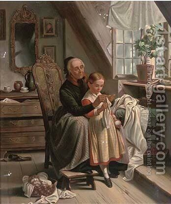 A lesson in lace making by Dutch School - Reproduction Oil Painting