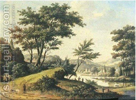 A wooded river landscape with sportsmen on a sandy track by Dutch School - Reproduction Oil Painting