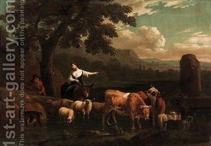 Italianate Landscape With Drovers And Their Animals by Dutch School - Reproduction Oil Painting