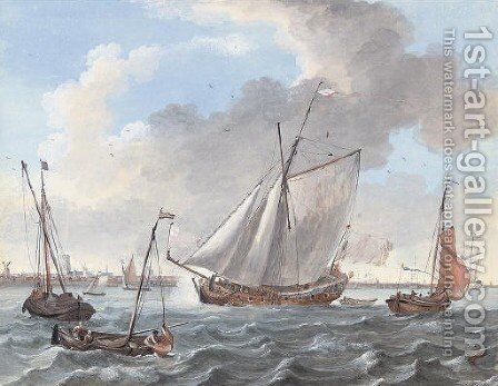 A Dutch yacht underway with men-o'war nearby by Dutch School - Reproduction Oil Painting