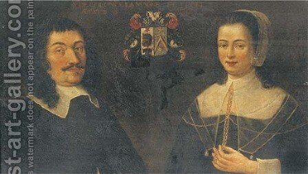 Portrait of Jean Goureau and his wife, Jeanne Matatela by Dutch School - Reproduction Oil Painting