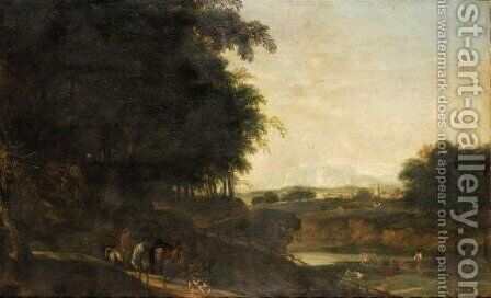 Extensive Italianate River Landscape With A Cavalier And His Pack Mule And Dog In The Foreground by Dutch School - Reproduction Oil Painting