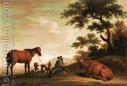 Italianate Landscape With Drover And His Animals by Dutch School - Reproduction Oil Painting