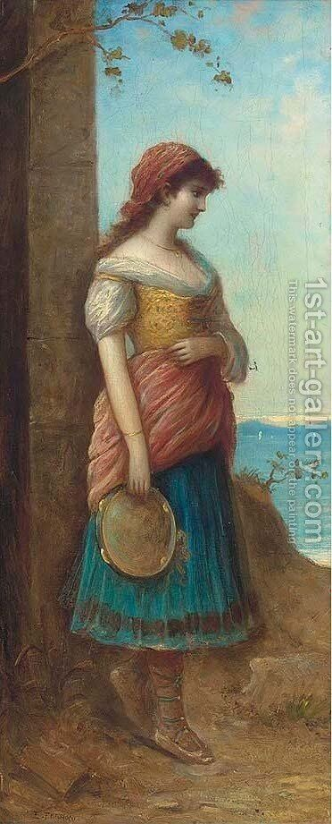 The tambourine girl by Egisto Ferroni - Reproduction Oil Painting