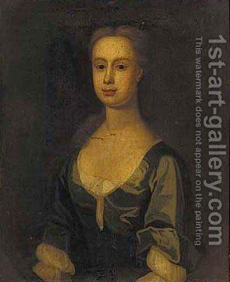 Portrait of a lady, bust-length, in a blue dress by English Provincial School - Reproduction Oil Painting