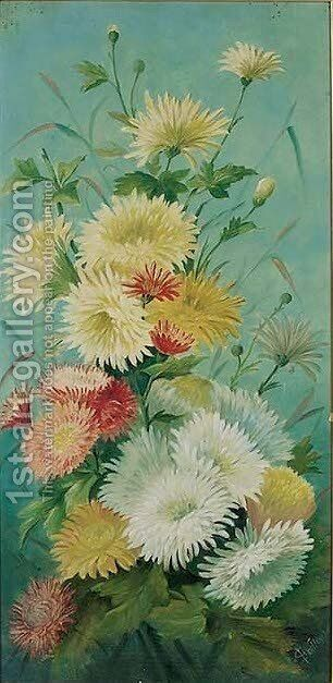 Chrysanthemums by English School - Reproduction Oil Painting