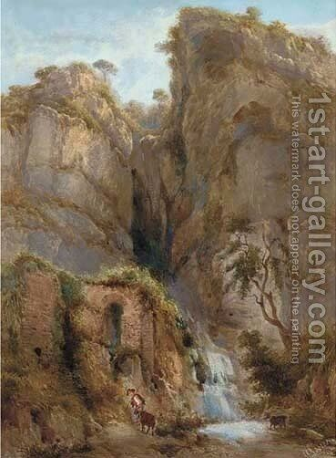 The waterfall in the gorge by Giovanni Lanza - Reproduction Oil Painting
