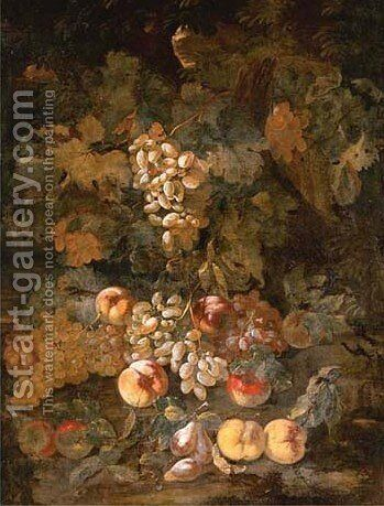 Grapes, apples and peaches in a wooded landscape by Giovanni Paolo Castelli  (lo Spadino) - Reproduction Oil Painting
