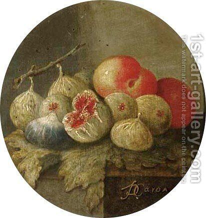 Figs and peaches on a stone ledge by Giuseppe De Caro - Reproduction Oil Painting
