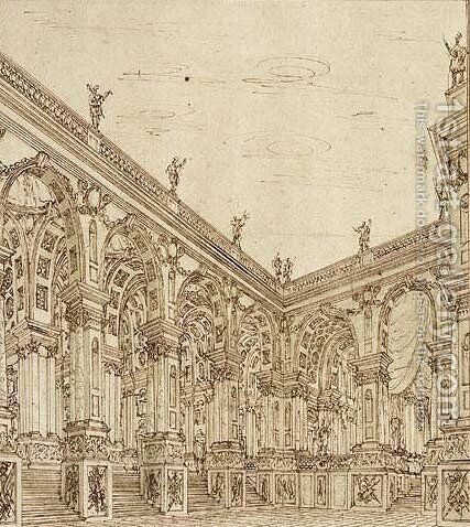 A Palace Courtyard Design for the Stage by Giuseppe Galli Bibiena - Reproduction Oil Painting