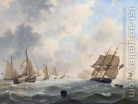 Dutch sailingvessels attacking an English fleet by Govert Van Emmerik - Reproduction Oil Painting