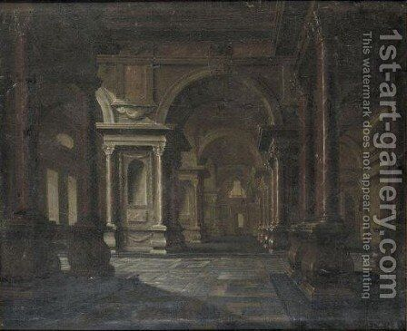 Interior Of A Baroque Palace by Hans Juriaensz. Van Baden - Reproduction Oil Painting
