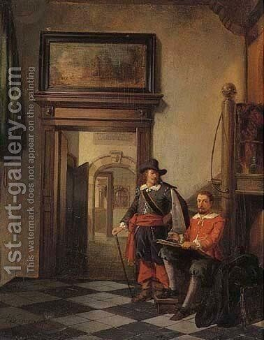 Cavalier writing a letter by Hendricus Johannes Scheeres - Reproduction Oil Painting
