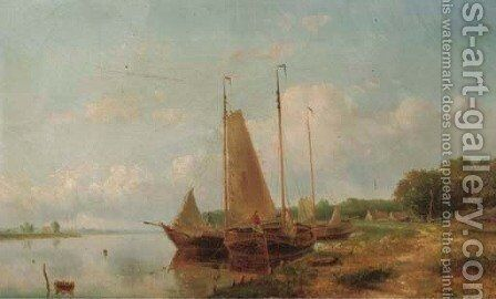 Boats moored by a river bank by Hendrik Hulk - Reproduction Oil Painting