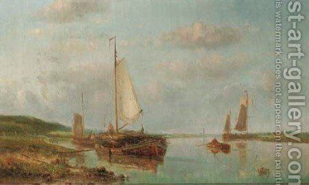 Boats moored by a river bank 2 by Hendrik Hulk - Reproduction Oil Painting