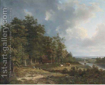 Summer landscape with cattle grazing by a river by Hendrik Verpoeken - Reproduction Oil Painting